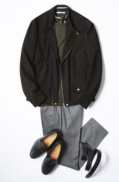 Dress Suits For Men, Mens Suits, Older Mens Fashion, Grey Dress Pants, Mens Gear, Everyday Fashion, Winter Fashion, Street Wear, Leather Jacket