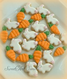 Easter cookies  mini bunnies and carrots  2 by SweetArtSweets, $28.50