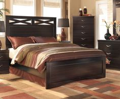 X-cess Contemporary Merlot Wood Queen Panel Bed