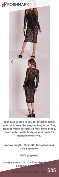 NWT Missguided Sheer Lace Midi NEW with tags, in sealed package • US 2 • Originally $50 • Bodysuit does not come with Missguided Dresses