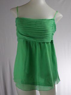 GAP 14 Large Green Spaghetti Straps 100% Silk Tunic Shirt #GAP #Tunic #Casual