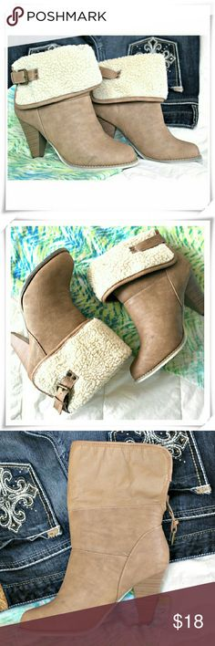 Alisse booties. Like new. Faux nubuck booties feature brown taupe distressed color, stacked heel, almond toe, pull on construction, faux fur on the top of foldover part, finished with decorative buckle in the back. Worn once, just can see a bit wear on the heel end. Exellent condition.  Details: heel 3-1/4, fits TTS, not enough ball of the foot support for me.  Please use only ✔OFFER  button for all price negotiations. I'll do a price drop⤵ for you for discounted shipping, if we agree about…