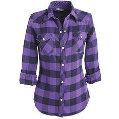 Elisa Flannel Shirt ($15) ❤ liked on Polyvore featuring tops, shirts, blusas, plaid, shirts & blouses, cuff shirts, button-down shirts, checkered shirt, purple top and plaid button up shirts