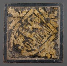 Medieval floor tile from Neath Abbey. This item comes from: National Museums & Galleries of Wales (Item reference: 2001.24H/). This tile, produced in about 1340, shows a shield of arms with three lions. The shield of the Kings of England. Tile size: 147 x 150mm.