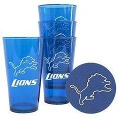 NFL Detroit Lions 2 Pack Plastic Pint Tailgate Set