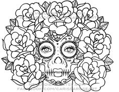 ispywithmycraftyeyes: sugar skull flower finished | dia de los ... - Coloring Pages Roses Skulls