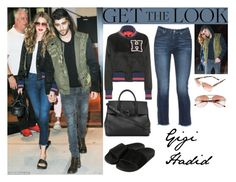 """""""Gigi Hadid With Zayn Malik In NYC July 15,2016"""" by valenlss ❤ liked on Polyvore featuring 7 For All Mankind, Tommy Hilfiger, adidas Originals, Versace and Burberry"""