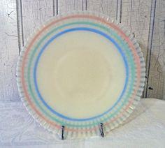 Vintage MacBeth Evans Corning Petalware Cremax Plate with Pastel Stripes - 1940s on Etsy, $26.00
