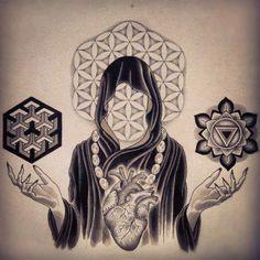 "Stunning Sacred Geometry ""Flower Of Life"" Tattoo. Hals Tattoo Mann, Tattoo Hals, Sacred Geometry Symbols, Sacred Geometry Tattoo, Tattoo Geometrique, Yi King, Mystique, Visionary Art, Sacred Art"