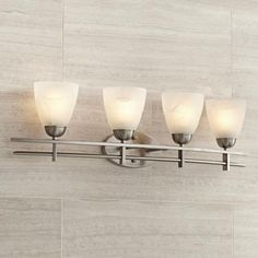 "Deco Nickel Collection 33"" Wide Bathroom Light Fixture"