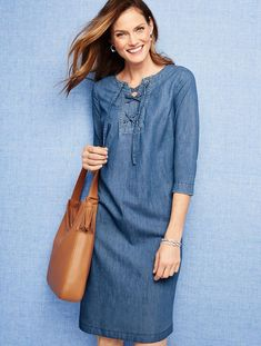 Talbots - Lace-Up Denim Henley Dress-True Blue Wash Stylish Outfits, Fashion Outfits, Chambray Tunic, Women's Henley, Fit Flare Dress, Talbots, Dress To Impress, Blouses For Women, Clothes