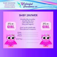 """OFF SALE Baby Shower Twin Girls Invitation """"Double Trouble"""", Twin Girls Baby Shower Invitation , Pink Owls, Personal Commercial Use Pink Owl, Twin Girls, A4 Paper, Double Trouble, Frame It, Baby Shower Invitations, Rsvp, Card Stock, Twins"""