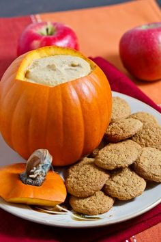 Pumpkin Dip: 1 (8 ounce) pack cream cheese, 1 cup brown sugar, 2 cups pumpkin puree, 1 tsp cinnamon, 1/2 tsp ginger, 1/4 tsp cloves, 1/4 tsp nutmeg. Cream the cream cheese.  Mix in the sugar followed by the spices and then the pumpkin puree.  Cover and chill overnight in the fridge.  Serve with ginger snaps.
