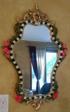 """HP 28""""x19"""" b&w Courtly Whimsical check pink rose green leaf gold ornate mirror"""