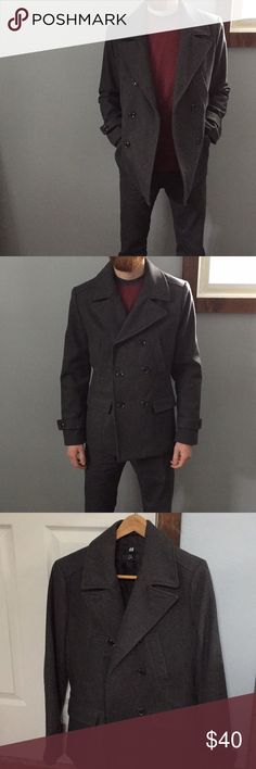 """Men's H&M Gray Peacoat Size 36R This men's peacoat from H&M has only been worn a few times. In great condition! Gray color, comfortable and durable! Perfect for fall and winter styling! Let me know if you have any questions!  Bust: 39"""" Shoulder: 17"""" Sleeves: 25 1/2"""" Length: 27"""" H&M Jackets & Coats Pea Coats"""