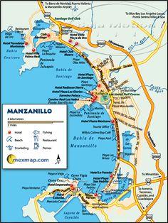 Mapa de #Manzanillo, una de las más hermosas ciudades costeras de #Mexico. En cada punto podrás ver una inmensidad de propuestas para disfrutar de mañana, tarde y noche.