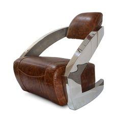 Modern Art Deco Aviator Chair - Polished Chrome - Genuine Leather