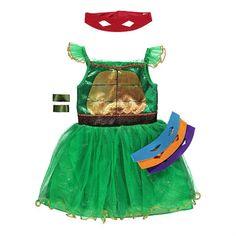 Tyttöjen Ninja Turtles naamiaisasu