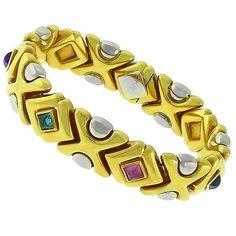 Estate_0.50ct_Sugar_Loaf_Peridot,__Amethyst,_Pink_&_Green_Tourmaline,__Citrine,__Pink_&_Blue_Topaz__18k_Yellow_&_White_Gold_Bracelet | New York Estate Jewelry | Israel Rose