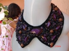 SALE %50 - Collar / Collarette / Handmade / Special Design /Purple/ Decorated With Amethyst and Beads on Etsy, $10.00