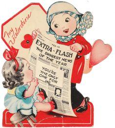 Vintage Valentine Card Girls Newspaper MECHANICAL 1940's Die-Cut Children #1