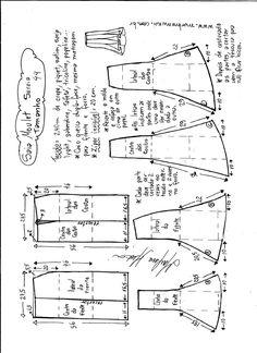 Esquema de modelagem de saia mulet sereia tamanho 44.