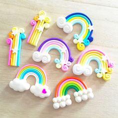 2 pcs Rainbow Cabochons Decoden Kawaii Cute Polymer Clay Jewelry Making Flatback