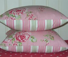 Set of Two new 16 inch  Pillow Cushion Covers  Pink Flora fabric backed with co-ordinating   striped fabric  Vintage Style Chic. $27.00, via Etsy.