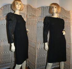 Bill Blass 80's Black Crepe Cocktail Dress Satin Sleeves