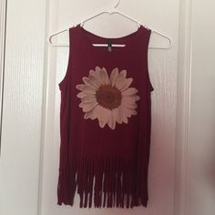 Maroon Sunflower Graphic Tank Top OFFERS WELCOME! maroon tank top full tilt from tillys. has fringe at the bottom. worn a couple of times, but in excellent condition! Tilly's Tops Tank Tops