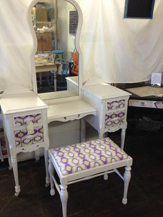 Antique/ Vanity/ and bench/ upcycled/ repurposed/  waverly purple & green fabric/ handpainted/ furniture/ bridal/ gift/ furniture /vintage
