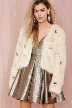 Night Dazzler Faux Fur Jacket - Ivory - Jackets | Faux Fur | Clothes | All | Faux Fur-ever | NYE