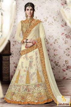 Most fashionable Indian traditional wear heavy designer cream net lehenga saree shopping. Diwali Special Discount Offer:  5% OFF FOR Buy 1 Product 10% OFF FOR Buy 2 Product 15% OFF FOR Buy 3 Product or more  #saree, #designersaree, #partywearsaree, #lehenghastylesaree, #designercollection More : http://www.pavitraa.in/store/diwali-special-collection/ http://www.pavitraa.in/store/one-minute-saree/ callus: +91-7698234040