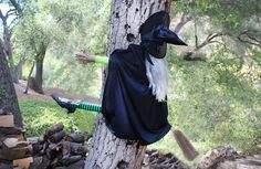 How to Build a Halloween Witch Hitting a Tree - There was one of these on a tree where we used to live. Very clever idea!