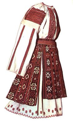 Traditional costume from Dolj, Oltenia, ROMANIA Folk Embroidery, Learn Embroidery, Embroidery Patterns, Modern Embroidery, Ethnic Fashion, Fashion Art, Folk Costume, Costumes, Historical Clothing