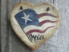 Primitive Heart Salt Dough Ornament / July Decoration STCOFG from cookiedoughcreations on Etsy. Saved to Go USA! Salt Dough Crafts, Salt Dough Ornaments, Clay Ornaments, Handmade Ornaments, Fourth Of July Decor, July 4th, Diy Christmas Gifts, Christmas Ornaments, Happy Birthday America