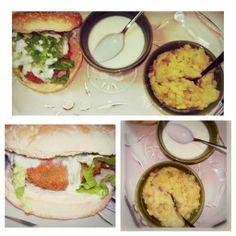 """Hoje deu nisto. Obrigado Jamie Oliver pela inspiração.  Hambúrguer de """"Alheira Vegan"""" com Molho de Iogurte acompanhado de Puré Verde.  Hummmm"""