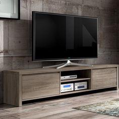 Wooden Television Stand 2 Door Shelves Storage Oak Finish Living Room Furniture