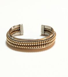 Navajo Cuff Bracelet, Sterling Silver, Tahe Cuff Bracelet, Gold Filled Coils, Signed, Native American Jewelry, Vintage Jewelry