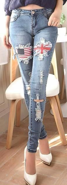 Blue Denim Casual Ripped Jeans