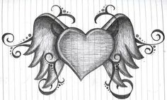 I have actually drawn this one almost exactly It's really beautiful I love drawing hearts and wings