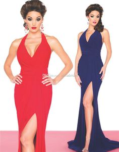 Wholesale Evening Dresses - Buy 2014 Cheap Evening Dresses Red Navy Halter Sheath Long Sweep Train Sexy High Side Slit Formal Party Gowns Prom Dress Mac Duggal New AE-165, $99.86 | DHgate
