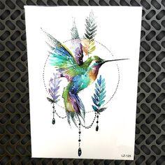 Water Color Geometric Circle Lavender Humming Bird Tattoo Waterproof Fake Jewel Pendant Tatoo For Women Temporary Tattoo Sticker