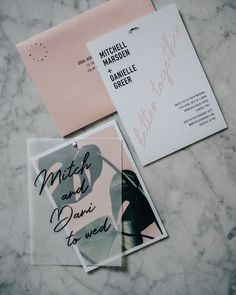 TROPIS double layers for Mitch and Dani. See more of this new collection on our website. Luxe Wedding, Wedding Rsvp, Wedding Details, Blush Wedding Invitations, Wedding Stationery, Invites, Collateral Design, Melbourne Wedding, Love Design