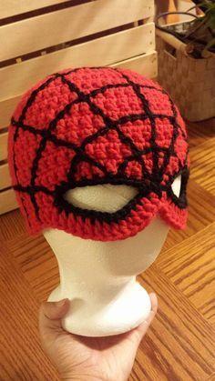 Crochet Hat Spiderman hat crocheted super hero by KnittingsByTina on Etsy - Bonnet Crochet, Crochet Mask, Crochet Beanie, Free Crochet, Knit Crochet, Crochet Kids Hats, Crochet For Boys, Crochet Crafts, Crochet Projects