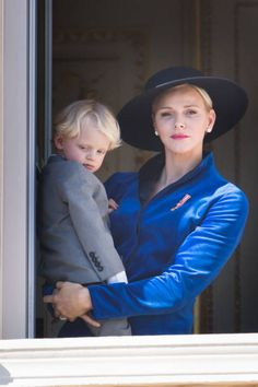 Princess Charlene of Monaco with Prince Jacques of Monaco greet the crowd from the Palace's balcony during the Monaco National Day Celebrations on...