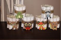 Set of 6 Woodland Mini Diaper Cakes for a Rustic Themed Baby Shower. Baby Shower Gift or Centerpiece. Decorations. Welcome Gift. by PAMPartyHomeDesignCo on Etsy