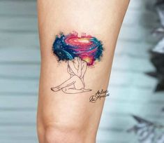 32 Charming Watercolor Tattoo Designs for Tattoo Lovers Tattoos And Body Art design my own tattoo Mini Tattoos, Leg Tattoos, Body Art Tattoos, Small Tattoos, Sleeve Tattoos, Cool Tattoos, Tatoos, Afro Tattoo, Yogi Tattoo