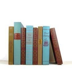 Turquoise Red Brown Vintage Decorative Books by DecadesOfVintage, $40.00-- NEED these for our living room color scheme.