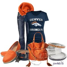 """""""Gooooo Broncos! - Navy & Orange Contest"""" by jewhite76 on Polyvore"""
